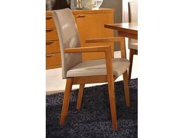 RMW Rietberger Möbelwerke Vierfußstuhl R1 90620 Leder Hermes Sand/europäischer Kirschbaum mit Armlehne
