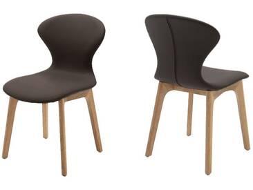 Wöstmann Sineo Set 4 Stühle / Esszimmerstuhl 4 Stück Leder schoko - SALE
