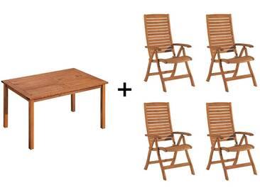 Gartenmöbel-Set Manja, 5-teilig, 4 Stühle, 1Tisch 150 x 90 cm