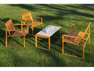 Gartenmöbel-Set Noah, 4-teilig, 2 Sessel, 1 Bank, 1 Tisch 45 x 100 x 45 cm