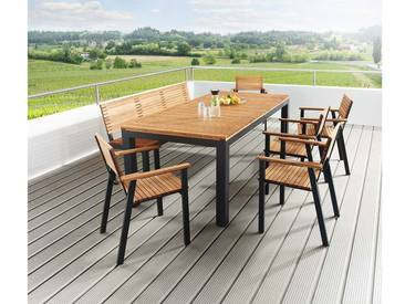 Gartenmöbel-Set Sassa 7-teilig, 5 Sessel, 1 Bank, 1 Tisch 200 x 100 cm