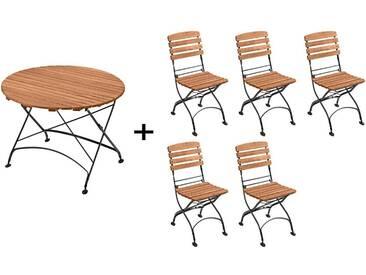 Gartenmöbel-Set Maja 6-teilig, Tisch Ø 110 cm, 5 Stühle