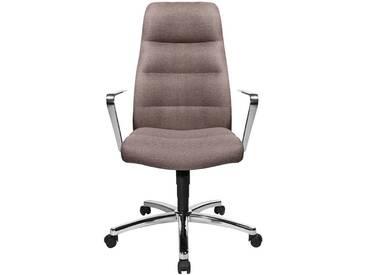 Bürodrehstuhl Chairman 70 mit Armlehnen und Fußkreuz aus Aluminium, hellbraun
