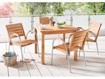 Gartenmöbelset Solano 5-teilig, 4 Stühle, 1 Tisch 90 x 90 cm