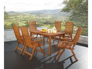 Gartenmöbel-Set Manja, 7-teilig, 6 Stühle, 1 Tisch 170/220 x 90 cm