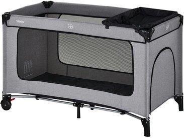 Fillikid Reisebett  Premium - grau - Bezug und Einhang 100 % Nylon, Bezug Wickelauflage, Netz und Tragetasche 100% Polyester - 60 cm - Möbel-Kraft