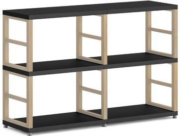 Konfigurierbares Bücherregal Regalsystem MAXX 2x2 | 117x76x33 cm | schwarz/eiche