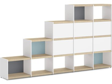 Stufenregal YOMO 5x4-P Stufenregal | 280x152x35 cm (LxHxT) | eiche/weiß