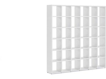Konfigurierbares Raumteiler Regalsystem BOON 6x6    216x218x33 cm   weiß