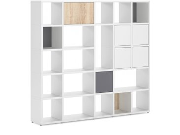 Konfigurierbares Bücherregal Regalsystem BOON Mix-5x5-P  | 203x183x33 cm | weiß