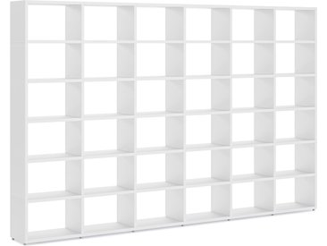 Konfigurierbares Regalwand Regalsystem BOON L-6x6 | 345x218x33 cm | weiß