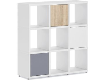 Konfigurierbares Büroregal  Regalsystem BOON 3x3-P  | 110x112x33 cm | weiß