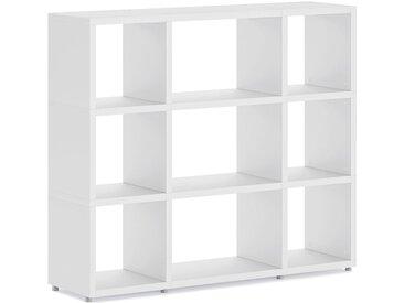 Konfigurierbares Büroregal  Regalsystem BOON Mix-3x3  | 131x112x33 cm | weiß