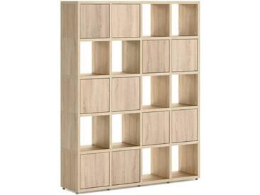 Konfigurierbares Bücherregal Regalsystem BOON 4x5-P  | 145x183x33 cm | eiche vintage