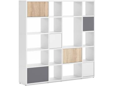 Konfigurierbares Bücherregal Regalsystem BOON Mix-4x5-P  | 188x183x33 cm | weiß