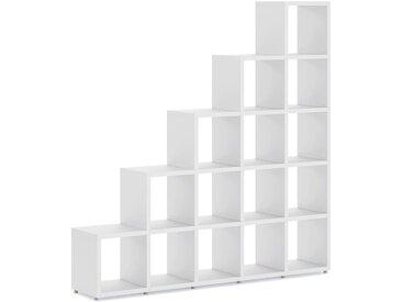 Stufenregal konfigurierbar 5x5 BOON | 181x183x33 cm (LxHxT) | weiß