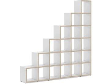 Stufenregal konfigurierbar 6x6 BOON | 216x218x33 cm (LxHxT) | weiß/eiche