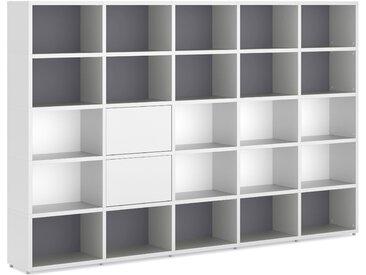 Konfigurierbares Bücherregal Regalsystem BOON L-5x5-P2    288x183x33 cm   weiß