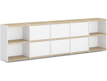 Konfigurierbares Büroregal Regalsystem YOMO 5x2-P | 280x79x35 cm | eiche/weiß