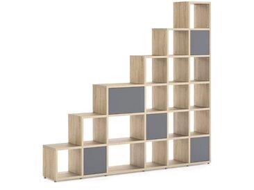 Stufenregal konfigurierbar 6x6-P BOON Mix | 238x218x33 cm | eiche vintage