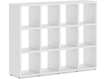 BOON 4x3 Kinder Bücherregal konfigurierbar   145x112x33 cm (LxHxT)   weiß