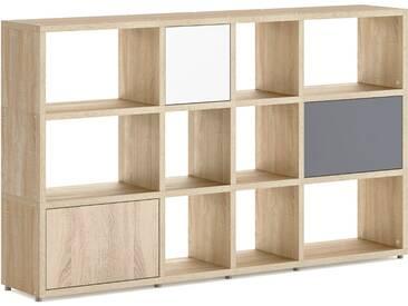 Konfigurierbares Bücherregal Regalsystem BOON Mix-4x3-P  | 188x112x33 cm | eiche vintage