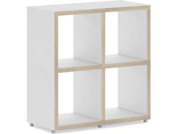 Konfigurierbares Regalwürfel Regalsystem BOON 2x2  | 74x76x33 cm | weiß/eiche