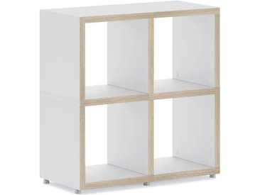 Regalsystem konfigurierbar 2x2 BOON   74x76x33 cm (LxHxT)   weiß/eiche