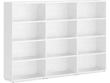 Konfigurierbare Regalwand Bücherwand CASE Maxi-3x4  | 225x149x34 cm | weiß