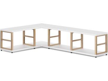 4x1 Eckregal konfigurierbar MAXX | 166/109x40x33 cm (LxHxT) | weiß/eiche