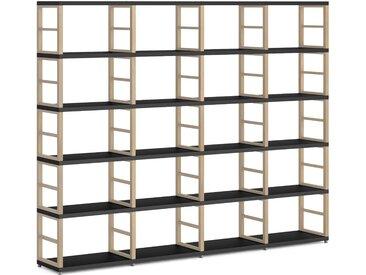 Konfigurierbares Bücherregal Regalsystem MAXX 4x5 | 231x183x33 cm | schwarz/eiche