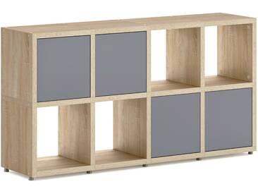 Konfigurierbares Bücherregal Regalsystem BOON 4x2-P    145x76x33 cm   eiche vintage