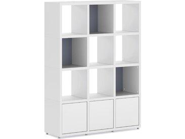 Konfigurierbares Bücherregal Regalsystem BOON 3x4-P  | 110x147x33 cm | weiß
