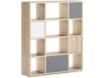 Konfigurierbares Bücherregal Regalsystem BOON Mix-3x4-P1    131x147x33 cm   eiche vintage