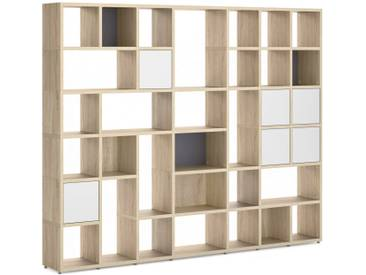 Konfigurierbares Bücherregal Regalsystem BOON Mix-7x6-P    274x218x33 cm   eiche vintage