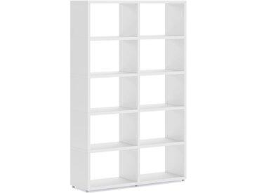 Konfigurierbares Büroregal  Regalsystem BOON L-2x5 | 117x183x33 cm | weiß