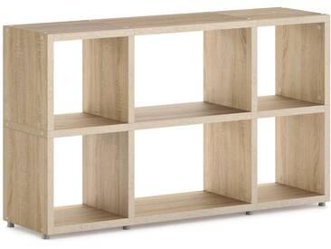 Konfigurierbares Bücherregal Regalsystem BOON Mix-3x2    131x76x33 cm   eiche vintage