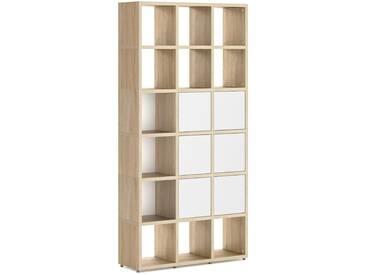 Konfigurierbares Bücherregal Regalsystem BOON 3x6-P  | 110x218x33 cm | eiche vintage