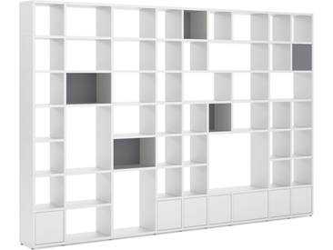 Konfigurierbares Bücherregal Regalsystem BOON Mix-9x7-P  | 388x254x33 cm | weiß
