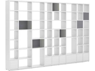 Bücherregal konfigurierbar   individualisierbares Bücherregal konfigurierbarsystem konfigurierbar BOON Mix-9x7-P   388x254x33 cm (LxHxT)   weiß