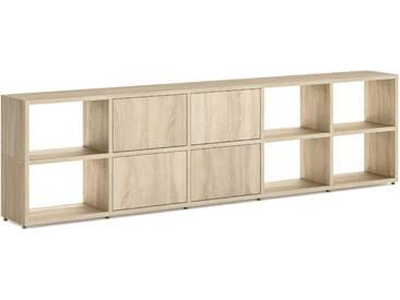 Konfigurierbares Bücherregal Regalsystem BOON L-5x2-P    288x76x33 cm   eiche vintage