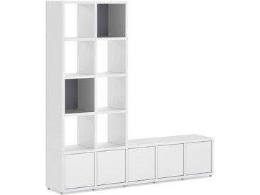 Konfigurierbares Regalwand Regalsystem BOON 5x5-P2  | 181x183x33 cm | weiß