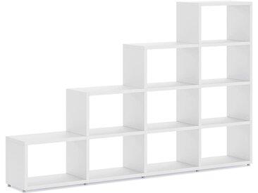 Stufenregal konfigurierbar 4x4 BOON L | 231x147x33 cm (LxHxT) | weiß