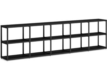 Konfigurierbares Bücherregal Regalsystem MAXX M-5x2 | 288x76x33 cm | schwarz