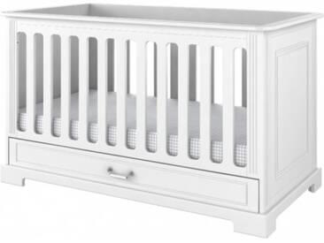 Babybett 70x140 Gitterbett Bett umbaubar Weiß Ida White
