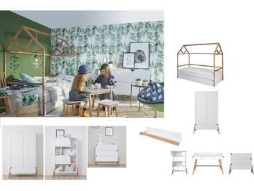 Kinderzimmer komplett Set 6-teilig Eichenholz Weiß Marta