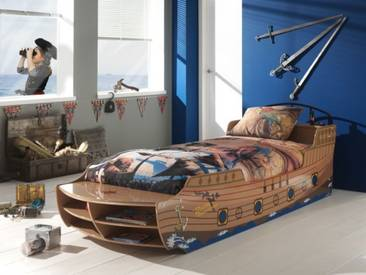 Piratenbett Schiff Kinderbett 90x200 braun Pirate