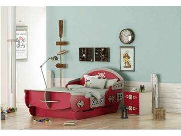 Piratenbett Schiff Kinderbett 90x200 rot grau Red Korsar
