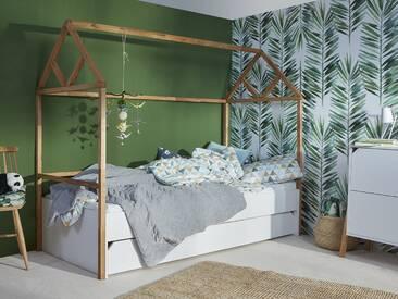 Hausbett Kinderbett 90x200 mit Schublade Holz weiß Marta