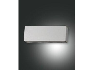 LED Wandaußenleuchte silber Fabas Luce Trigg 180mm 1300lm IP54